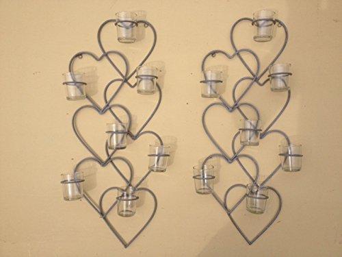 Heart Shaped Grey Metal Tea Light Holder, Ideal For Garden Or Home