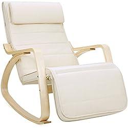 Songmics Poltrona dondolo con Poggia gambe di angolo regolabile a 5 gradi Carico Massimo 150 kg beige LYY10M