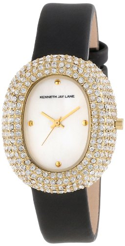 Kenneth Jay Lane Women's KJLANE-2403S-01  Mother-Of-Pearl Dial Crystal Accented Black Silk and Leather Watch