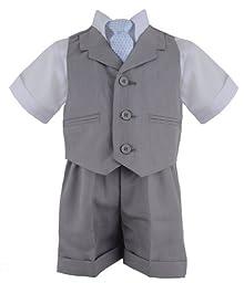 G240 SILVER Baby Toddler Boy Summer Suit Vest Short Set (4T, Silver)