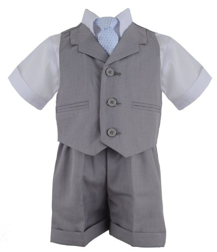 G240 Silver Baby Toddler Boy Summer Suit Vest Short Set (Medium/6-12 Months, Silver)