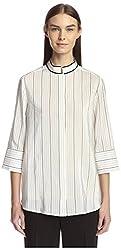 Salvatore Ferragamo Women's Blouse, White/Black, 40