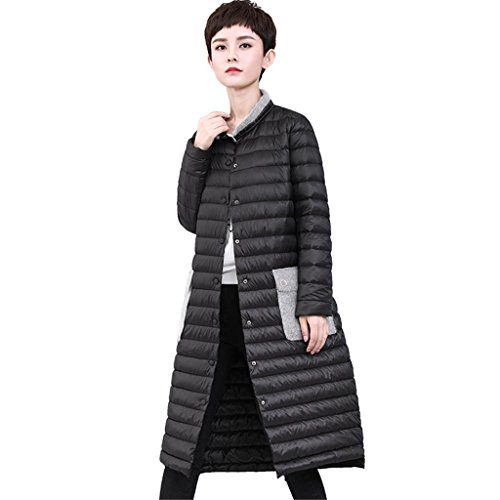 zyqyjgf-black-down-jacket-womens-thickened-lightweight-warm-long-sleeve-button-loose-solid-color-puf