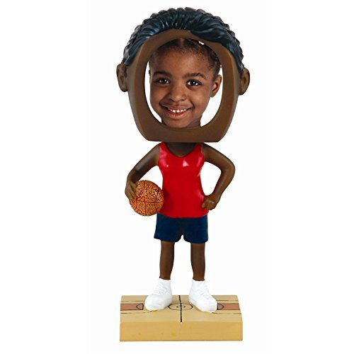 Female Basketball Photo Bobble Head - Dark Skin Tone