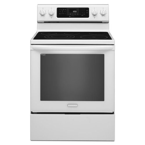 """Kitchenaid Kers303Bwh 30"""" Freestanding Electric Range With 5 Radiant Elements, 6.2 Cu. Ft. Capacity Oven, True Convection, Even-Heat Technology, Self-Cleaning And Storage Drawer"""