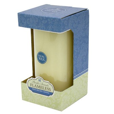 Flipo Pacific Accents Ivory Wax 4-Inch By 8-Inch Pillar Candle
