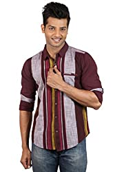 Le Tailor Men's Slim Fit Casual Stripes Shirt ( SLCFS111,Maroon & Red,M )