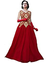 Clickedia Women Net Embroiderd Red Semi Stitched Gown