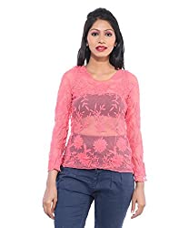 Avakasa Polyester Pink Embroidered Partywear Full Sleeves Top (top-04-pink)