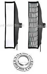 Ardinbir Studio 40cm x 200cm Softbox Diffuser with Eggcrate Grid for Bowens, Visico, Mettle, Fancier, Calumet Flash Monolights