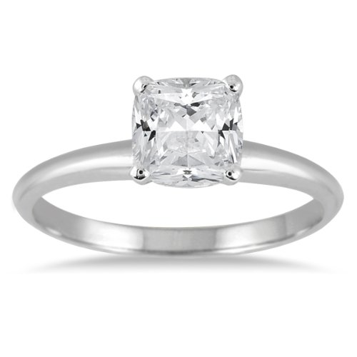 1 Carat Cushion Cut Diamond Solitaire Ring in 14K White Gold