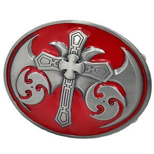 Celtic Cross Maltese Red Belt Buckle Metal Cool Gothic Medieval Unique New