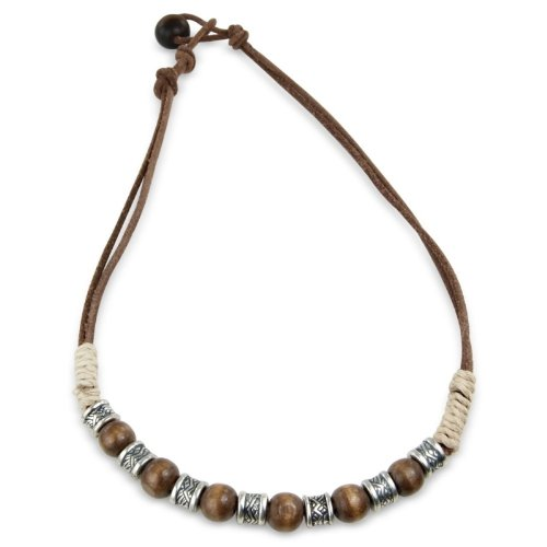 Mens necklace beaded surfer style in dark brown - includes in a Gift Bag - matching bracelet available.
