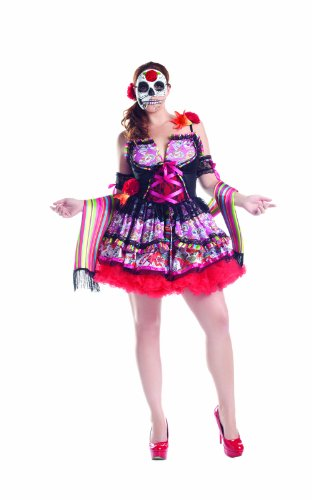 Party King Women's Plus Size Day Of The Dead 3 Piece Costume Set with Mask