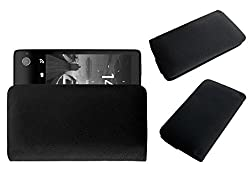 Acm Rich Leather Soft Case For Yota Phone C9660 Mobile Handpouch Cover Carry Black