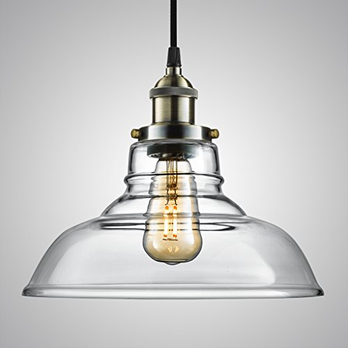 Arvidsson Vintage Hanging Lamp, INDUSTRIAL Pendant Light, CLEAN Clear Glass Shade, 100% Brass Brushed Antique Socket, Pretty Cool Fabric Cord, SIMPLE Dining Room Light, UL Standard, ETL Qualified (Hanging Lamps Plug In compare prices)