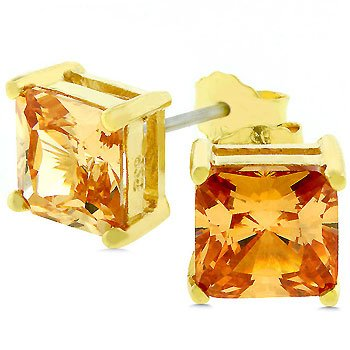 14k Gold Bonded .925 Sterling Silver Prong set 8mm Princess Cut Champagne CZ Stud Earrings, 4.0 ct Total in Goldtone