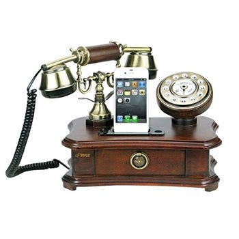 Pyle PRT35I Retro Home Telephone with Charger for iPhone/iPod - Retail Packaging - Wood