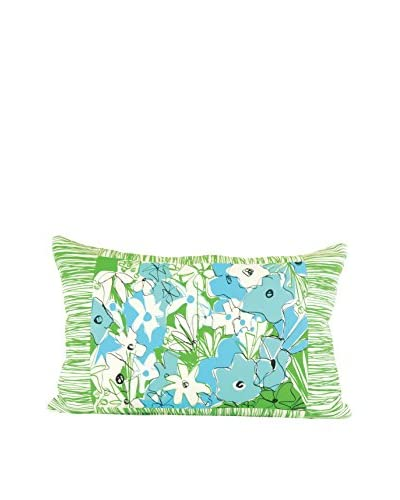Jacque Pierro Parisian Poppies Large Pillow, Light Blue/Medium Blue/Green