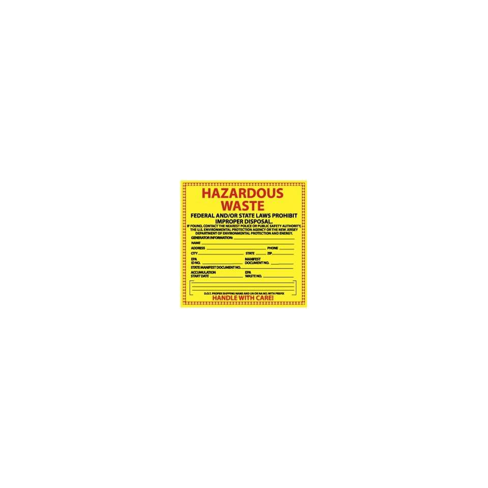 HW18  Labels, Hazardous Waste New Jersey, 6 X 6, Pressure Sensitive Paper,