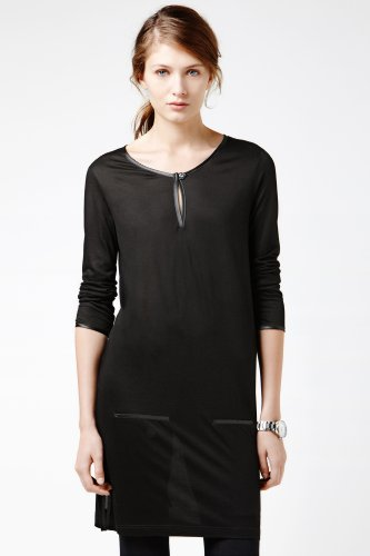 Long Sleeve Satin Trim Split Placket T-shirt Dress