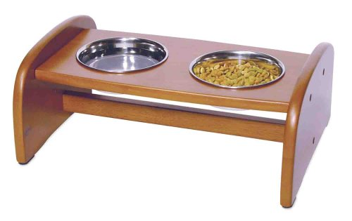 Richell Wood Pet Food Pedestal, Small, Autumn Matte Finish