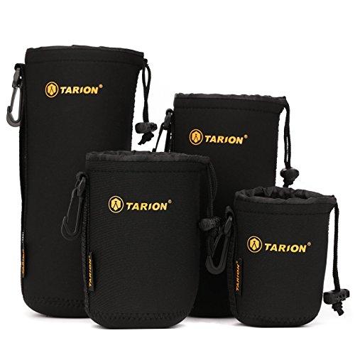 TARION-Objektiv-Taschen-Beutel-Set-4-Gren-Regenfest-aus-Neopren-mit-Karabinerhaken-und-Grtelschlaufe