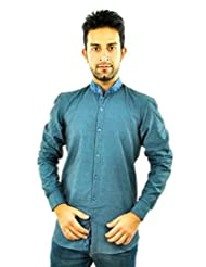 Feed Up Ice Blue Smart Band Collar Shirt