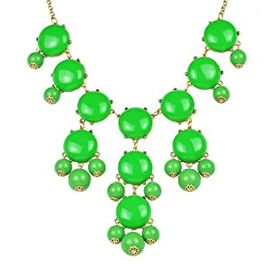 Green Bubble Necklace,Fruit Green Color Necklace,Statement Necklace (Fn0508-Fruit Green)