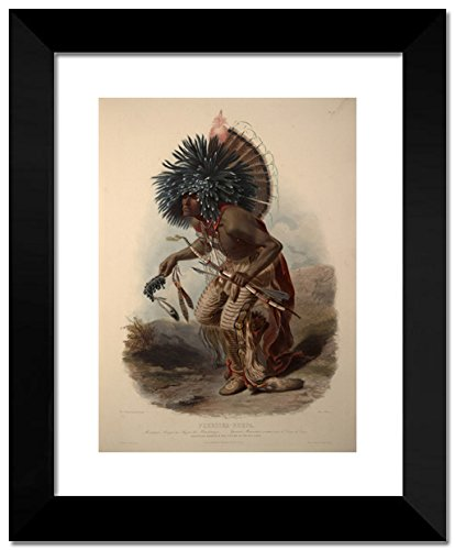 [Pehriska-Ruhpa, Minatarre Warrior in the Costume of the Dog Dance, plate 23 from Volume 2 of 'Travels in the Interior of North America' 20x24 Framed Art Print by Karl] (North Indian Dance Costumes)