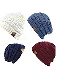 Trendy Warm Chunky Soft Stretch Cable Knit Slouchy Beanie Skully HAT20A (One Size, 4 PACK BURGUNDY/DARK DENIM/IVORY/NAVY)