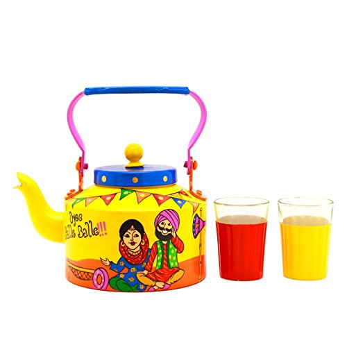 A Krazy Mug: Hand painted Kettle with set of two glasses - Oyee Balle Balle!!! /// painted tea pot steel, tea pot set, hand painted, tea kettle, gifts for girl, gifts for men, beautiful gifts, traditional gifts, unique gifts, quirky gifts