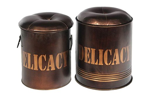 Essential Decor Entrada Collection 2-Piece Delicacy Metal Ottoman
