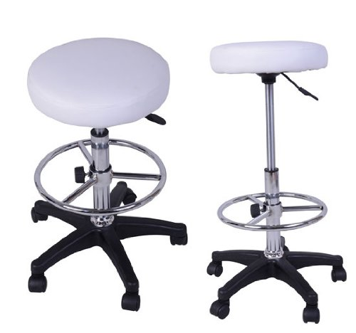 Barstool PU Salon Stool Set of 2 Office Bar Stool Gas Lift Hairdressing Stool White New