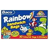 Baco Rainbow Sandwich Bags Coloured Bags & Stickers 30