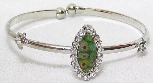 Green Stone Setting Metal Cuff Bracelet - Metal