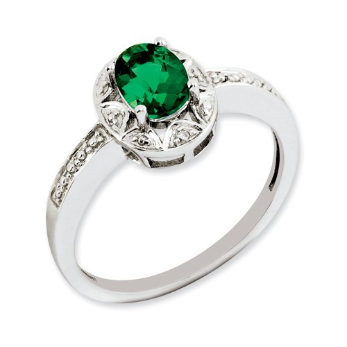 Sterling Silver Diamond & Created Emerald Ring