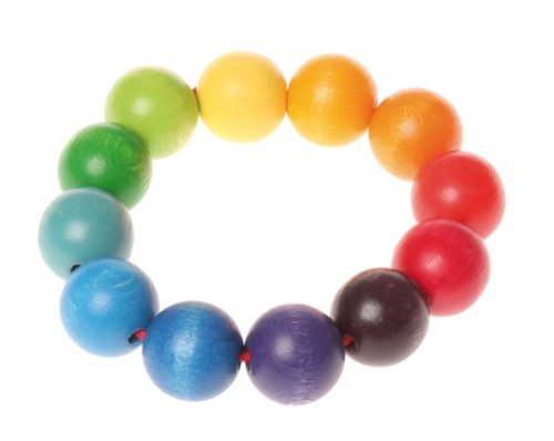 Grimm's Wooden Rainbow Beads Ring Grasper - Baby Teething & Grasping Toy from Germany - 1