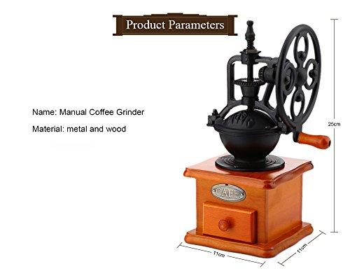 YOOYOO Retro Style Burr Coffee Grinder Hand Grinding Machine Hand-crank Roller (TAN) 6