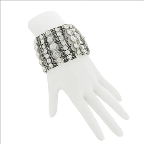 Small Bead Chain Texture W Stone Bracelet #041882