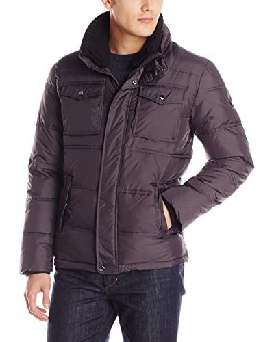 Calvin Klein Men's Quilted Puffer Jacket with Knit Collar