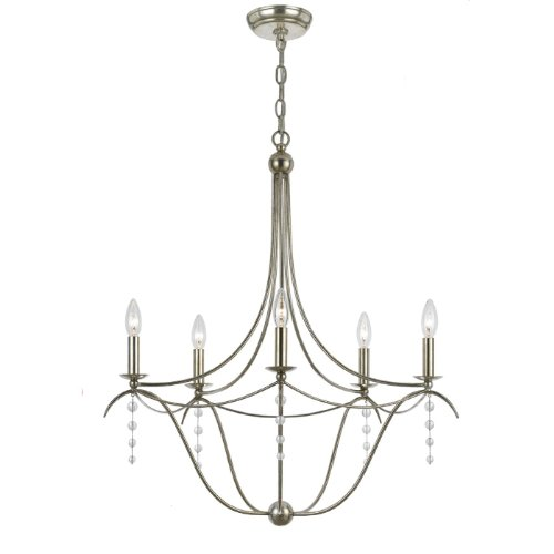 Crystorama 435-SA Metro 5LT Chandelier, Antique Silver Finish with Clear Beads