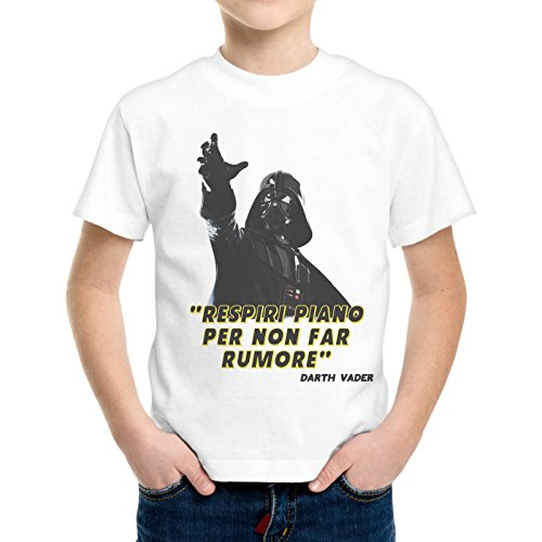 T-Shirt Bambino Ragazzo Darth Vader Star Wars Citazione Respiri Piano -