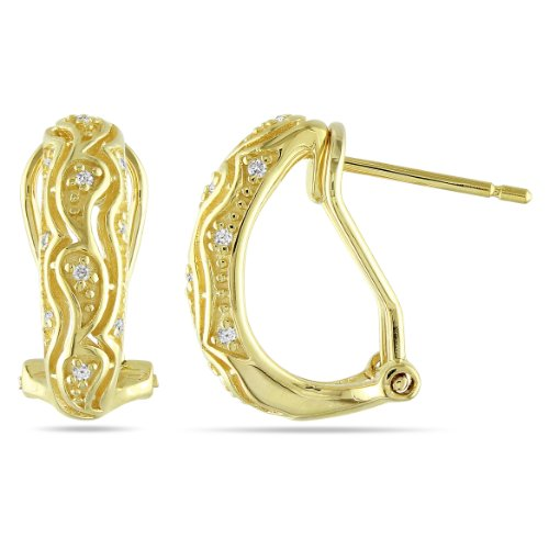 Yellow Silver 1/10 CT TDW Diamond Stud Earrings (H-I, I3)