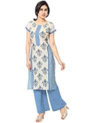 AHALYAA Multi Color Half Sleeve And Round Neck Faux Crepe Kurti