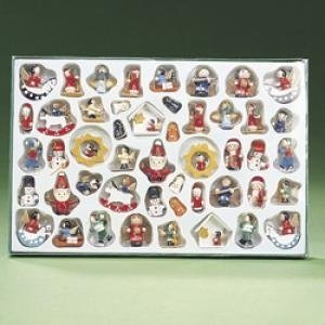 Set of 48 Petite Treasures Old Fashion Wooden Miniature Christmas Ornaments 1.5""