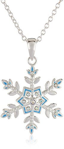 Disney Frozen Silver-Plated Crystal Snowflake Pendant Girls Necklace