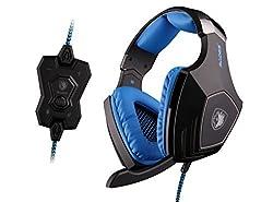 SADES A60 7.1 Surround Stereo PC Pro Gaming Vibration Headset Headband Headphone with High Sensitivity Mic Wolf Logo Flashing Light(Black)