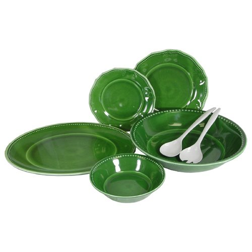 Provence Solid Green Melamine Dinnerware 16 Pc Set