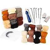 Needle Felting Kit, Needle Felting Starter Kit, 8 Colors Wool Roving for Needle Felting, Fibre Wool Yarn Roving with Plastic Storage Box, Wool Felt Tools with Felting Needles